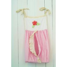 New Classic Beautiful Embroidered Flower Gingham Infant Baby Diaper Stacker-Pink