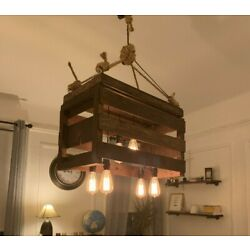 Vintage Reclaimed Upcycled Melon Crate Chandelier Six Edison Bulbs Dining Room