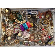 Large Lot of Junk Jewelry Parts Pieces Broken Jewely For Repurpose Craft Stuff