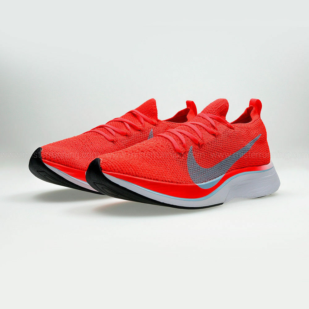 8db838cccc79 Details about NEW Nike Zoom Vaporfly 4% Flyknit Bright Crimson Orange Blue  Size US M 9.5 W 11