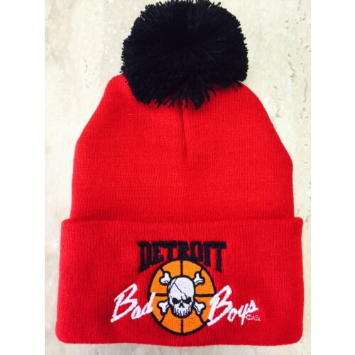 detroit-pistons-bad-boys-beanie-fold-back-skully-pom-pom-cap-hat-red
