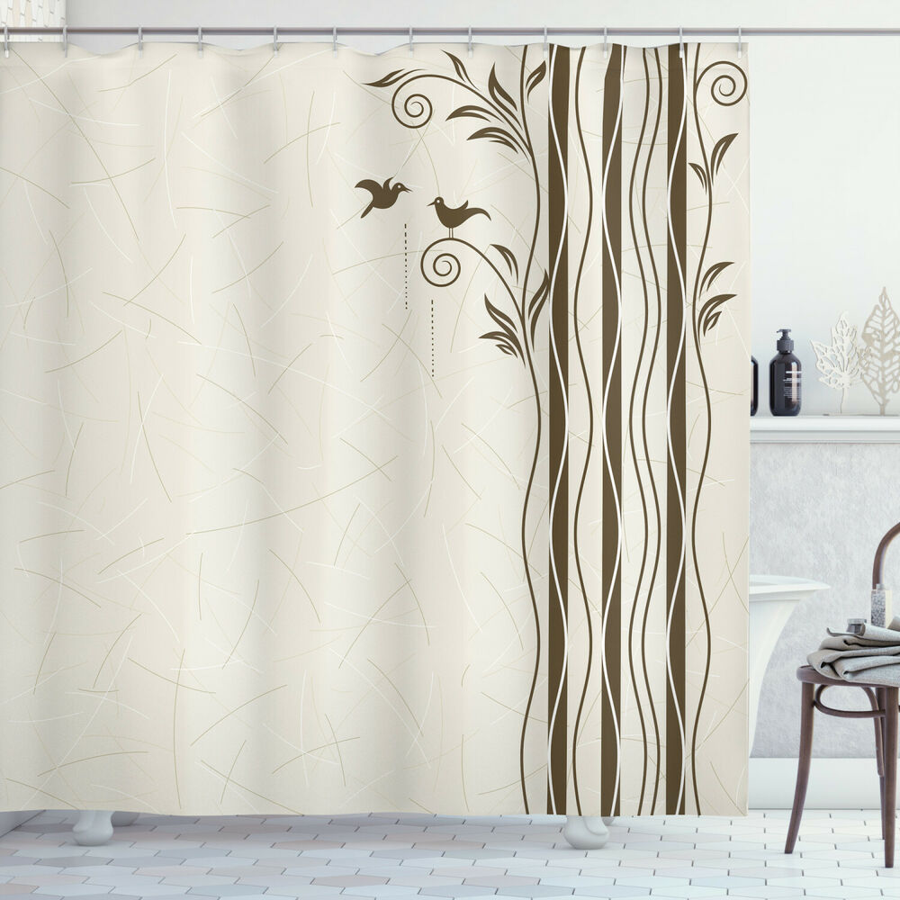 Details About Nature Shower Curtain Wavy Tree Branches Birds Print For Bathroom