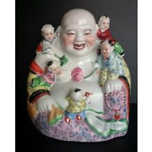 Antique Large Chinese Famille Rose Porcelain Buddha Figurine NICE ONE!