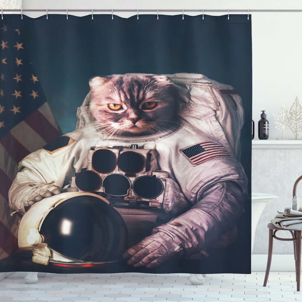 Space Cat Shower Curtain American Flag Vintage Print For Bathroom