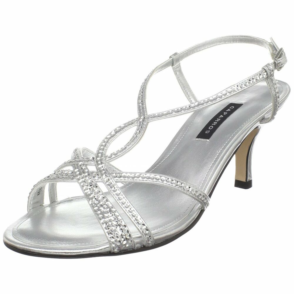 4fe93a26462f3 Details about Low Heel Sandals Silver Rhinestone Strappy Open Toe Wedding  Formal Bridal Shoes