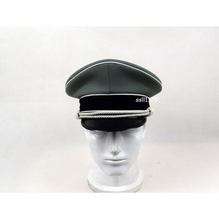 img-WWII German Whipcord Hat Cap W White Chin Pipe Silver Cord W Hat badge 59cm