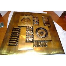 MID CENTURY MODERN METAL WALL SCULPTURE SIGNED