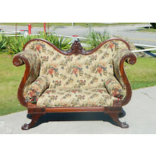 Gorgeous Mahogany Federal Empire High Arm Sofa Settee circa 1830