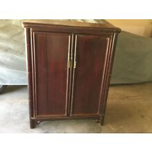 Antique Deep Burgandy Chinese Armoire