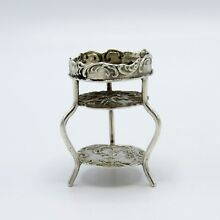 Antique Sterling Miniature Double Level Table, Hanau, London, 1881