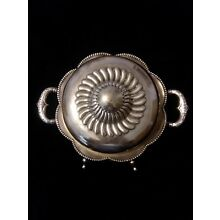 Antique Silver Fancy Footed Cheese Dome/ Butter Dish Bowl With Lid