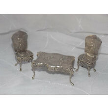 Antique Sterling Silver Miniature Table and Chairs Doll House Size
