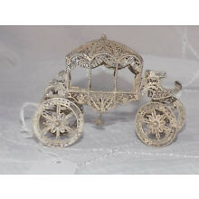 Antique Miniature Doll House Size Sterling Silver Filigree Carriage Stage Coach