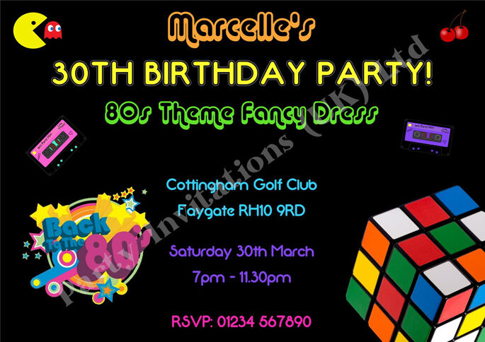 Details About Personalised 80s EIGHTIES Party Invitations 18th 21st 30th 40th 50th