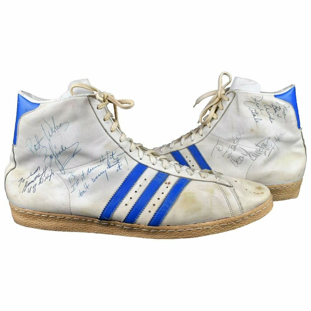 7c0ac0b8aea646 RARE! Vintage ADIDAS High Top Shoes 70 s Signed Detroit Pistons Basketball  19