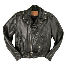 Vintage Black Leather Motorcycle Jacket 1960s Perfecto style Excelled