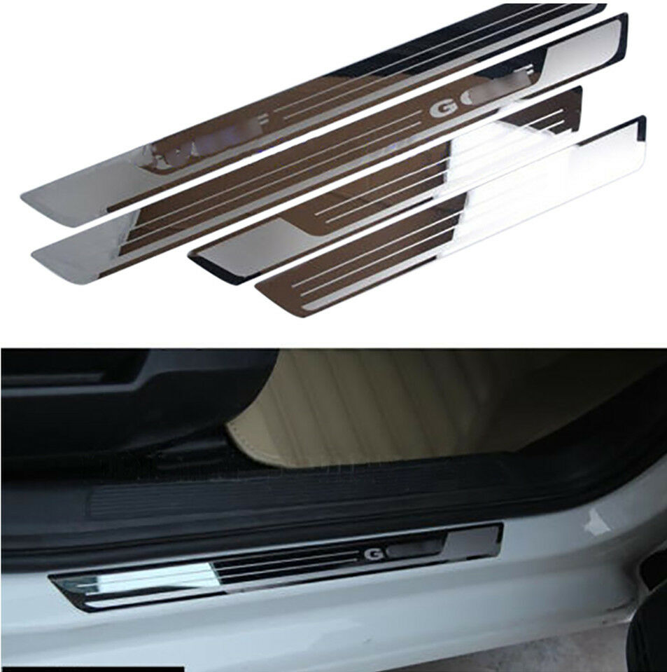Details about 4pcs ultrathin stainless scuff plate door sill pedal for vw golf7 golf 6 mk6 mk7