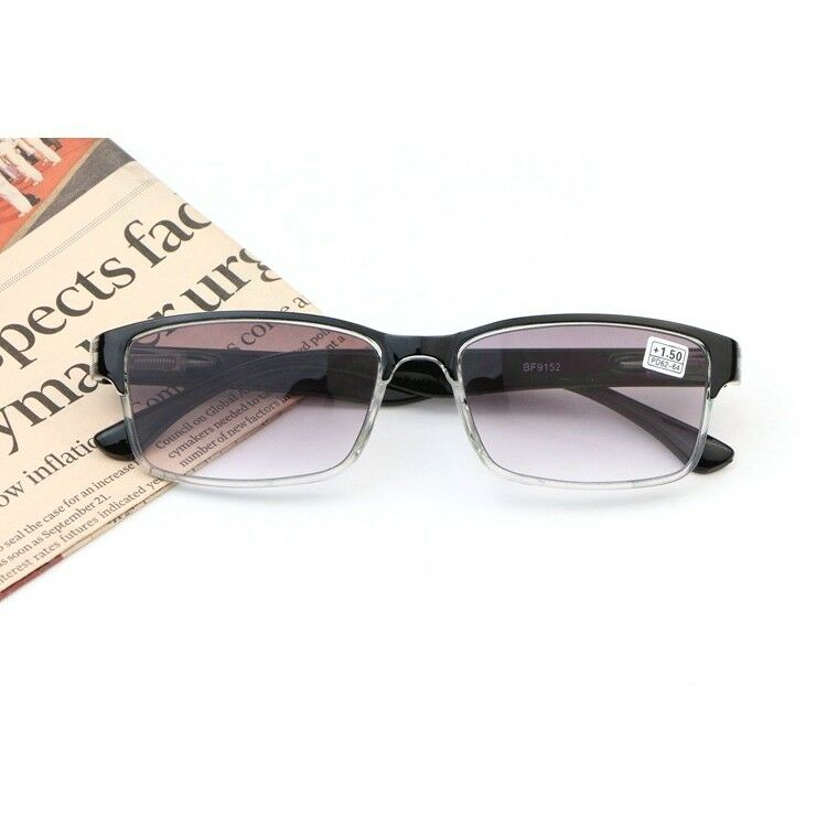 551c83416d3 Details about Mens Womens Tinted Reading Glasses Gradient Gray Lens Readers  Rectangle +1.0~4.0