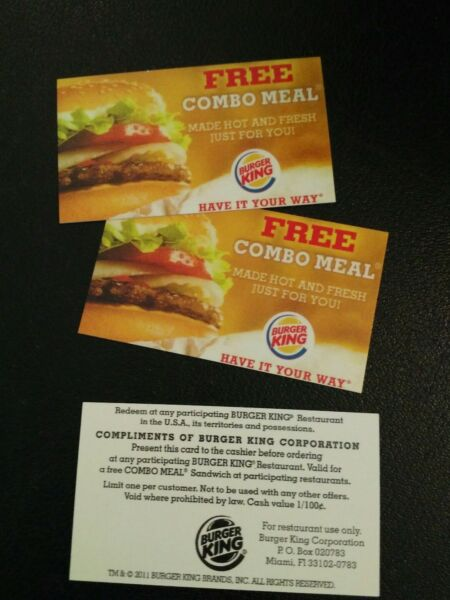 (3)  Burger King Combo Meal Voucher, NO EXPIRATION, Shipping 1 Business Day