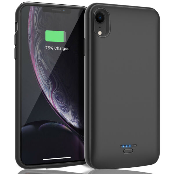For iPhone XR XS Max Battery Case External Power Bank Charging+Screen Protector