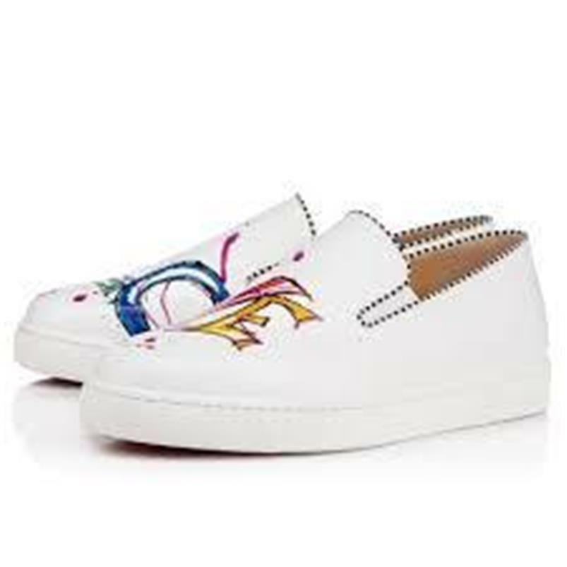 5ee0311a906 Details about Christian Louboutin LOUBI LOVE Print Flat Leather Sneaker  Shoes White  895