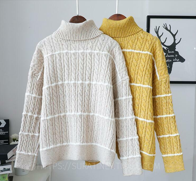 6b593797075 Details about Womens Fashion Winter Stripe Turtleneck Girls Warm Thick Wool  Kniting Sweaters