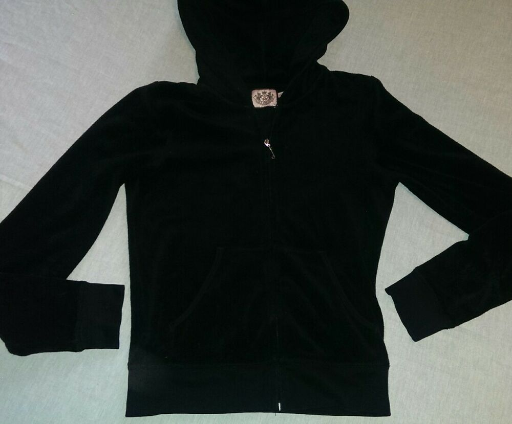 3ae66a4a47 Details about Women s Juicy Couture Zip Up Hoodie Sweatshirt SZ Small Black  designer fitted