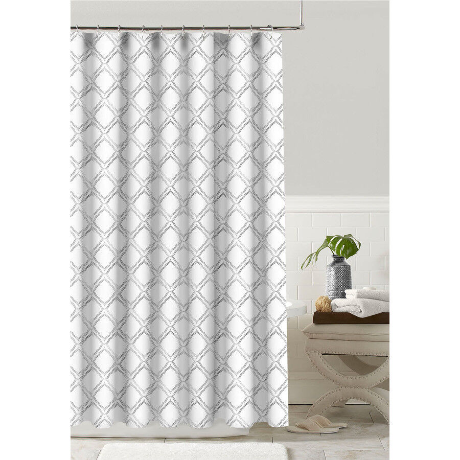 Details About Colordrift Polyester Luna Lattice Silver Shower Curtain 70 In X 72
