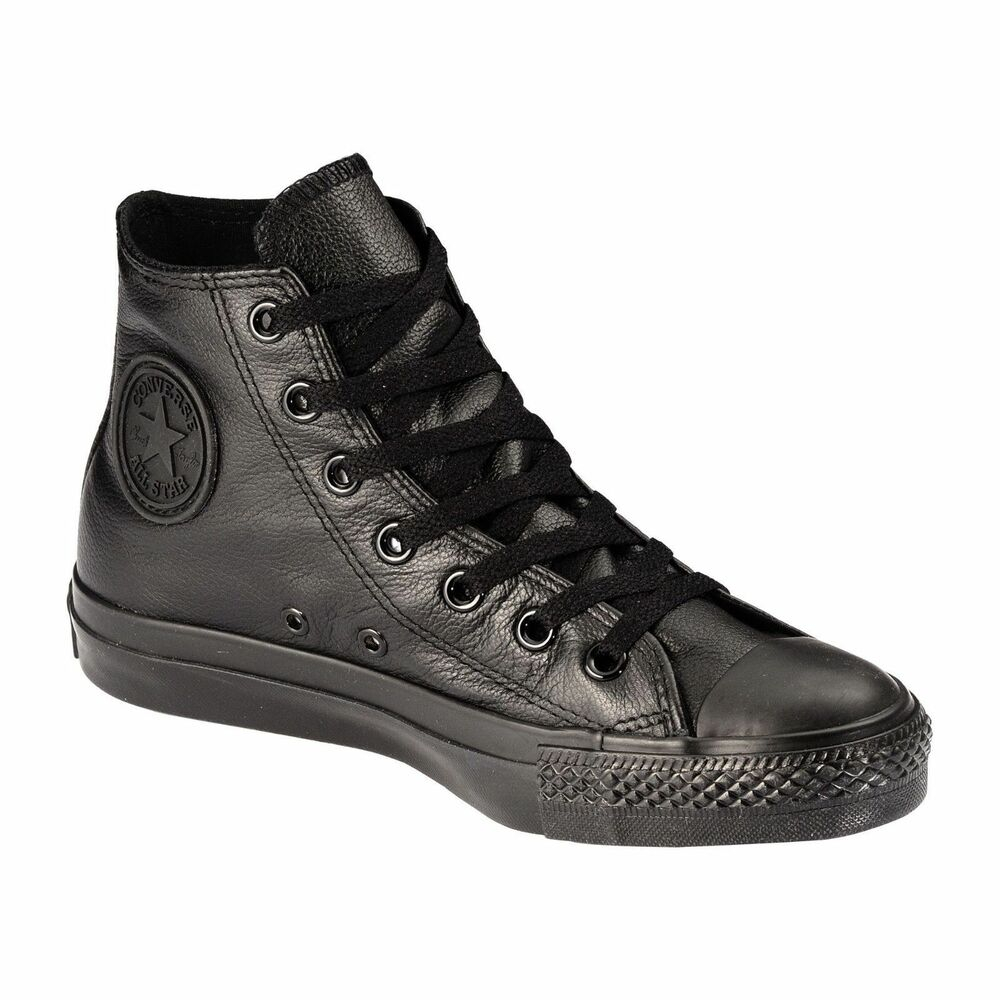 d9b36df6716b Details about Original Converse Chuck Taylor All Star Black Leather Shoes  Mens Womens 1T405