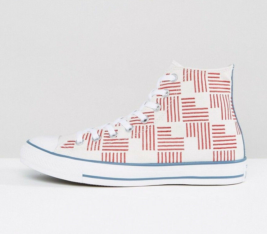 50b837387ca7 Details about Converse All Star Chuck Taylor Shoes Unisex Hi Top White Red  Blue 155382C NEW