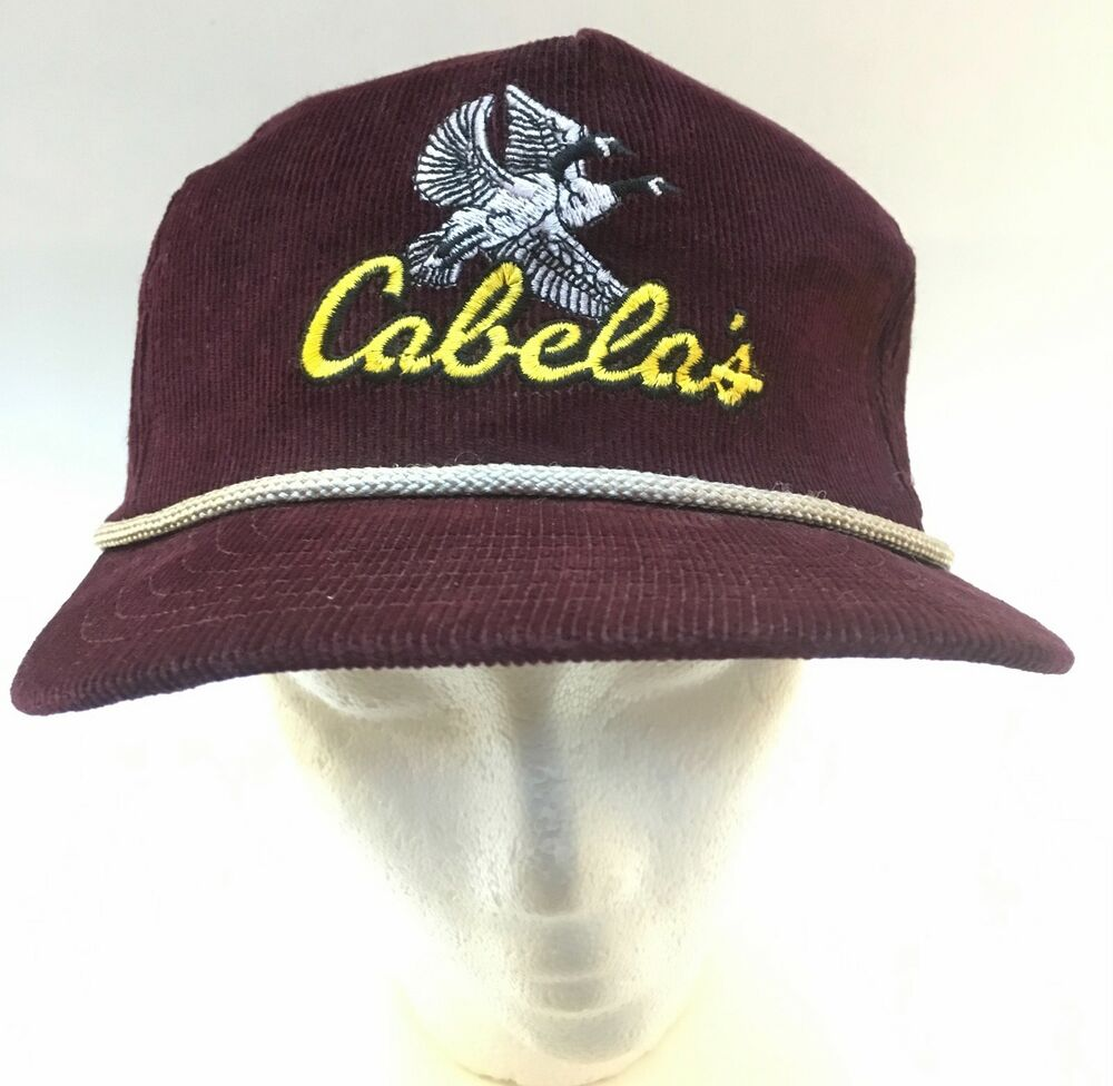 009655109 Details about Maroon Corduroy Cabelas Goose Logo Leather Strapback Hat