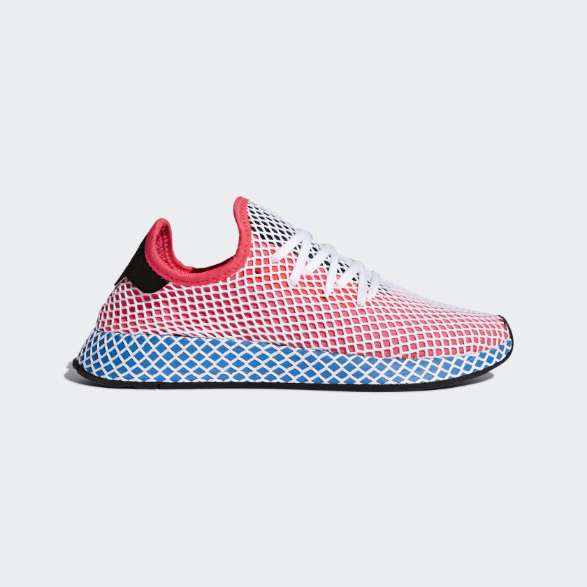 new products f08a8 2ad51 Details about adidas Originals Deerupt Runner Mens Shoes Solar Red Blue  Bird White CQ2624