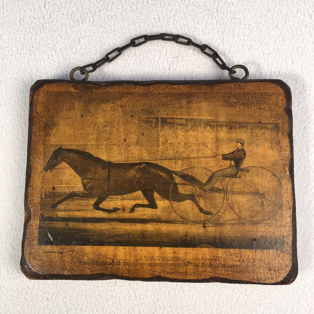 Details About Horse And Buggy Racer Lady Thorn Art On Wood Maid Of Ashland 8 X 6