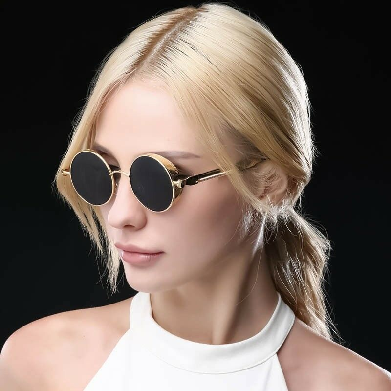 e7cb83831 Details about Elite Retro Gothic STEAMPUNK Round Sunglasses Metal Frame Mirrored  Circle Lens