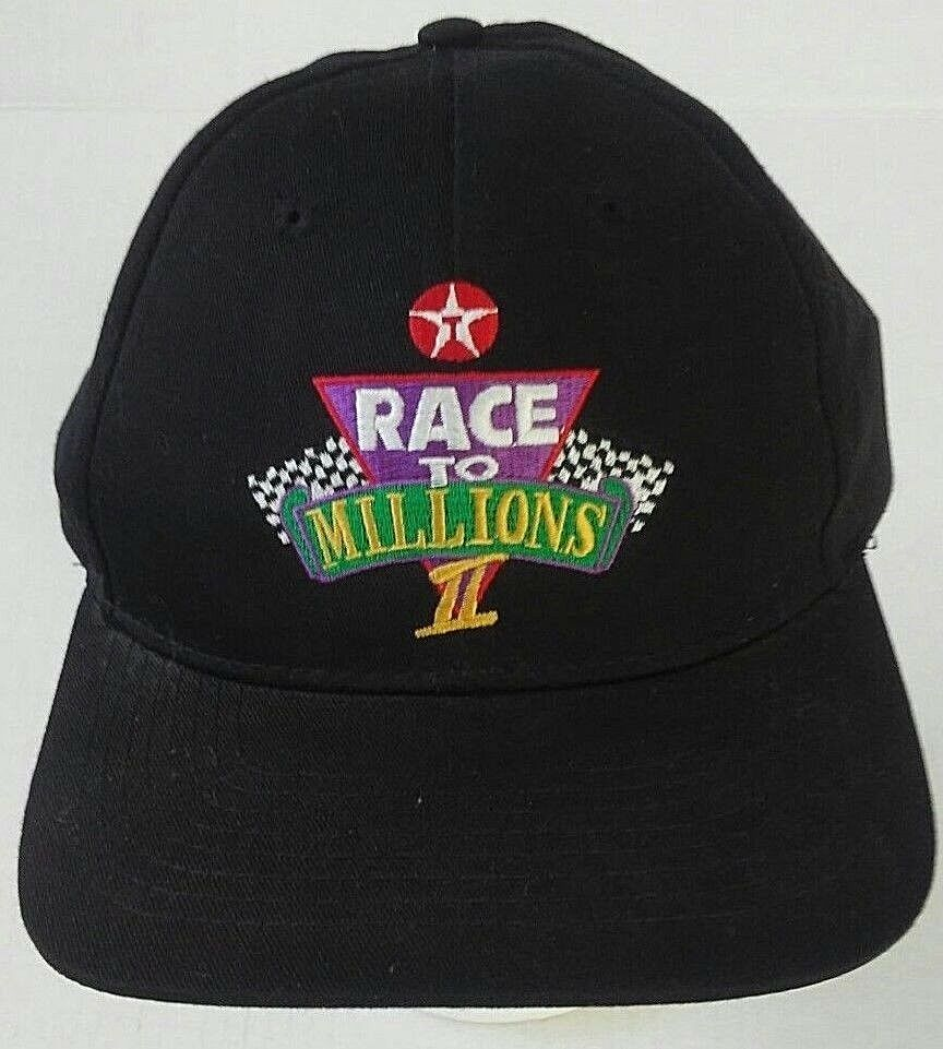 2f85f4e2e71 Details about Texaco Race to Millions II Black Snapback Truckers Cap Dad Hat  Promo Advertising