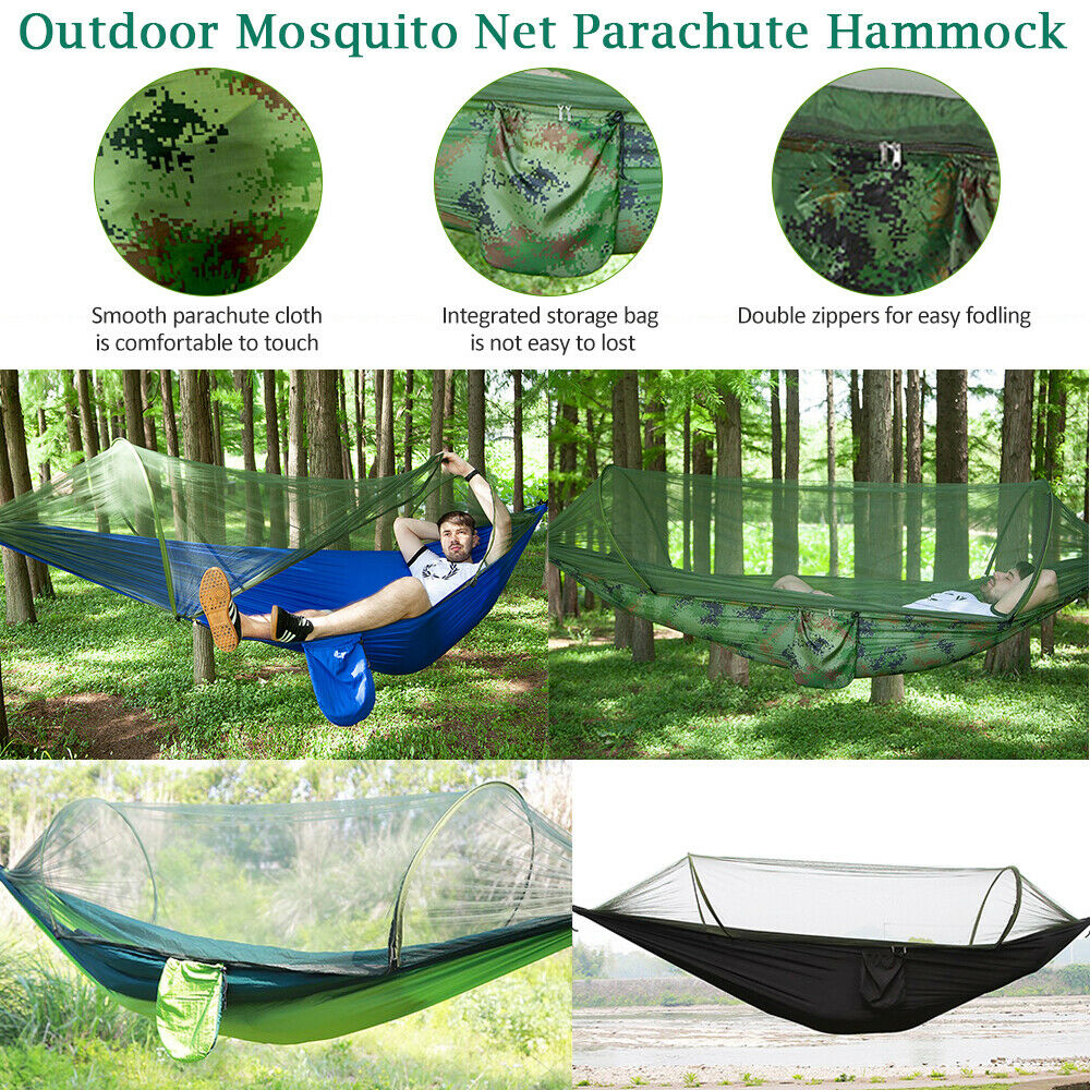 Humble High Strength Parachute Nylon Fabric Camping Single Parachute Hammock With Strong Rope For Camping Hiking Travel Sleeping Bags