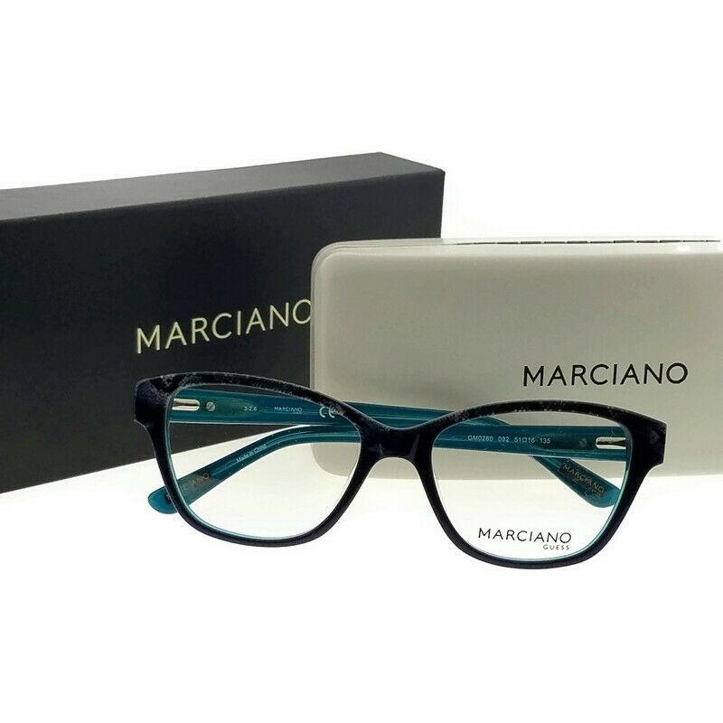 dcc7e3493c57 Details about Guess By Marciano GM0280-092-51 Cat Eye Women s Blue Frame  Clear Lens Eyeglasses