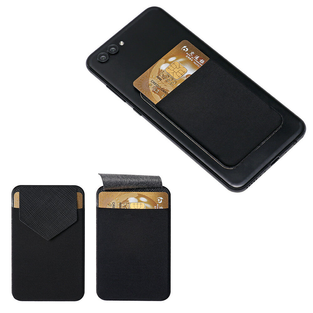 Cell Phone Card Holder >> Leather Phone Card Holder Adhesive Sticker Wallet Case Cell Phone
