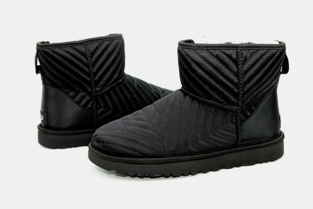 Ugg Classic Mini Quilted Satin Sheepskin Black Color Size 10 Us