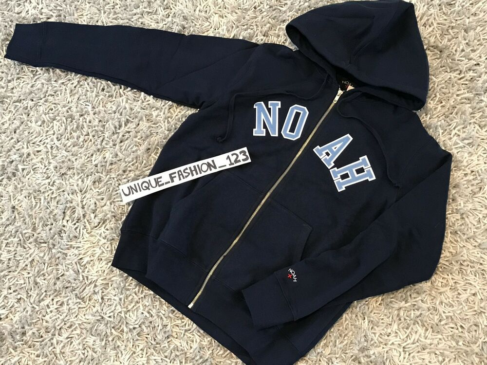 f88b6099776 Details about NOAH NYC SCRIPT ZIP UP HOODIE XL NAVY BLUE HOODED SWEATSHIRT  XLARGE SS17 NY