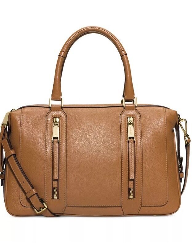 c35c681a0fb5 Michael Kors Julia Large Satchel Purse Handbag Leather Acorn Brown $428 New  190049138168 | eBay