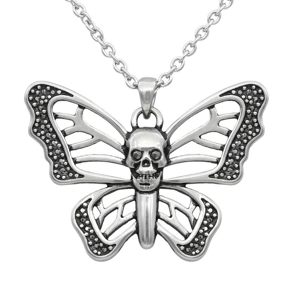 bf2d896ca Details about SKULL BUTTERFLY NECKLACE WITH HEMATITE SWAROVSKI CRYSTAL BY  CONTROSE