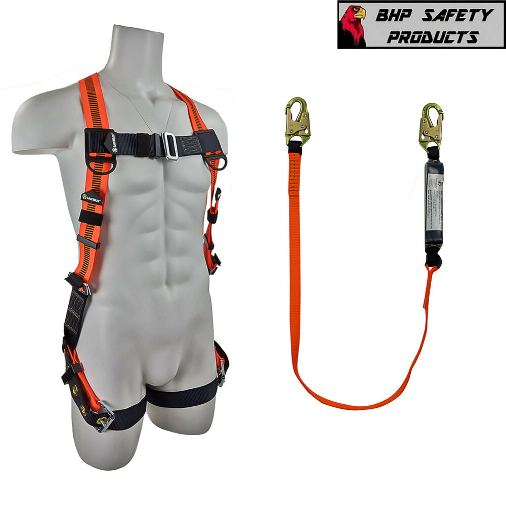 fall protection safety harness lanyard combo construction. Black Bedroom Furniture Sets. Home Design Ideas