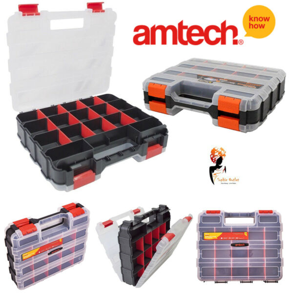 34 Section Compartment Tool Organiser Double Sided Storage Box Amtech - S6463