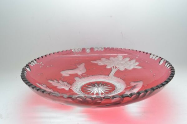 Stunning XL Antique Bohemian Heavy Flashed Ruby Lead Crystal Engraved Bowl