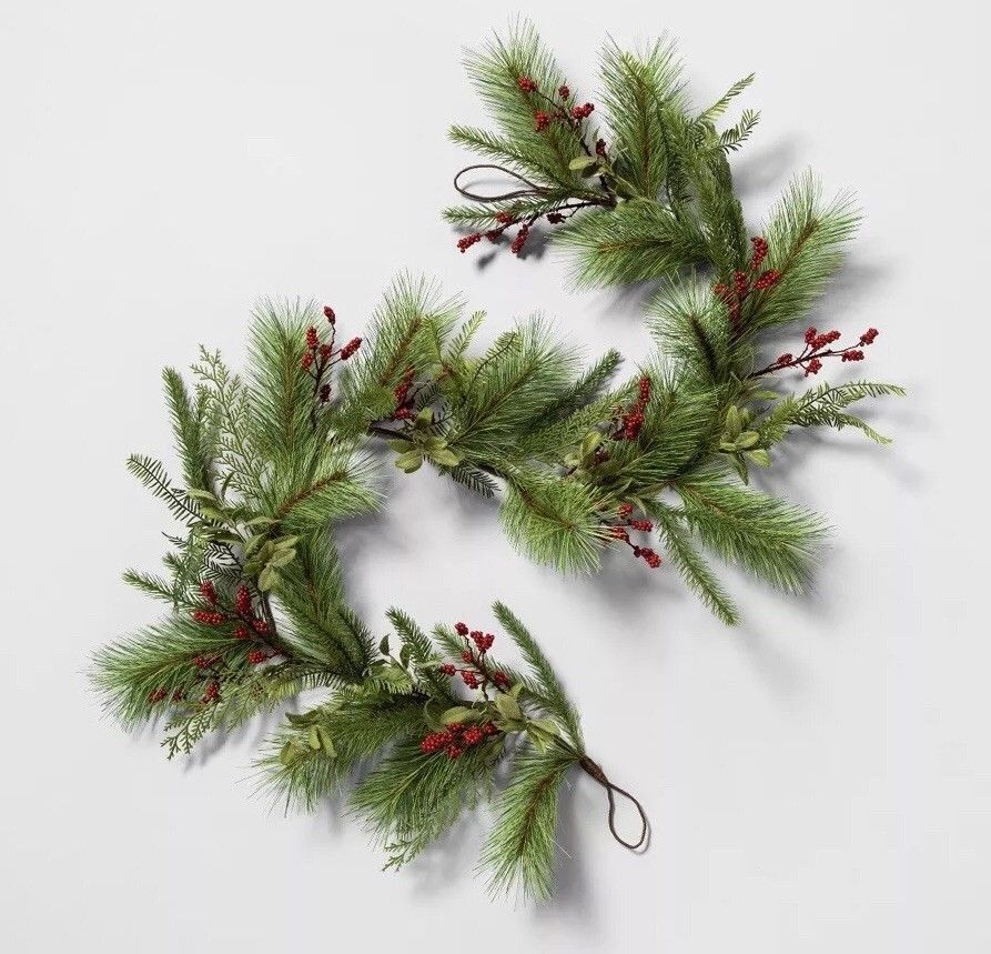 Hearth And Hand By Magnolia Christmas Greenery Garland Red Berry Pine Ebay
