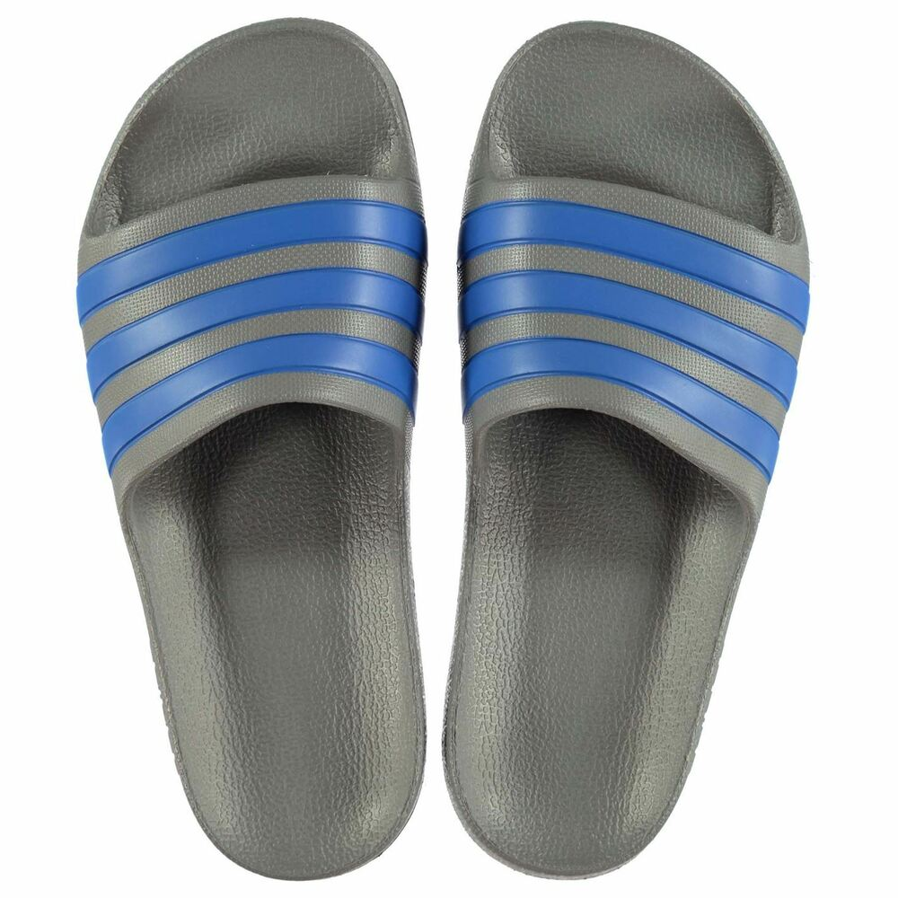 7cdc7b2e3be548 Details about NEW Adidas Kids Duramo Sliders Flip Flops GRAY BLUE SIZE FROM  1-2-3-4-5 Limited