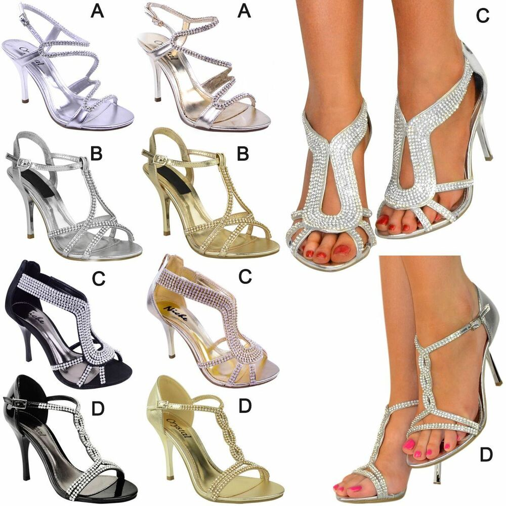 Details about Womens Ladies Diamante Mid Heel Wedding Bridal Prom Shoes  Evening Sandals Size