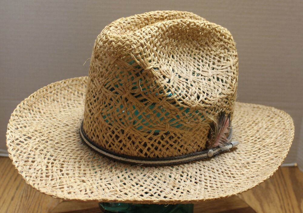 Details about BAILEY U-ROLLIT MENS STRAW COWBOY HAT SIZE 7 1 2 VERY GOOD  CONDITION 8c47be3bb25