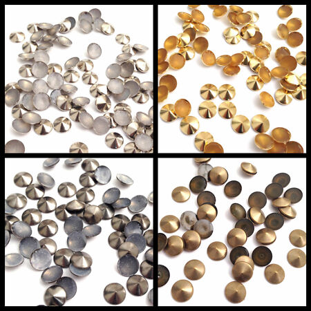 img-100 & 50pcs Round Top Pointed Nail Head Hot Fix Iron on Stud Jacket Shoes Belt
